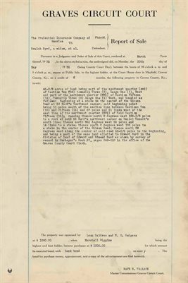 1935 COMMISSIONERS REPORT OF SALES, BELUAH BURD, WIDOW