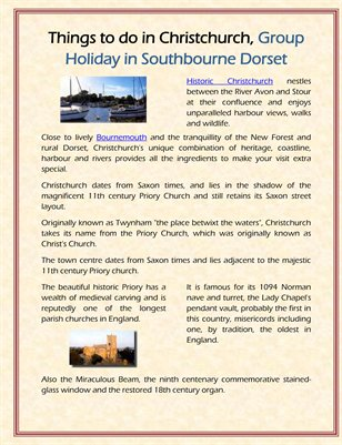 Things to do in Christchurch, Group Holiday in Southbourne Dorset
