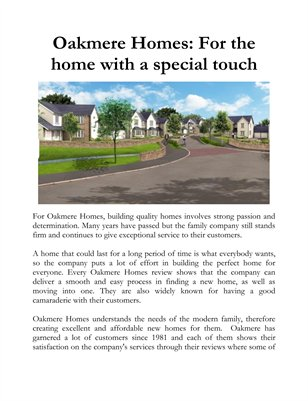 Oakmere Homes: For the home with a special touch