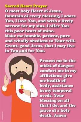 Happy Saints Prayer to the  Sacred Heart Poster