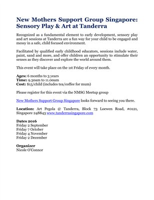 New Mothers Support Group Singapore: Sensory Play & Art at Tanderra