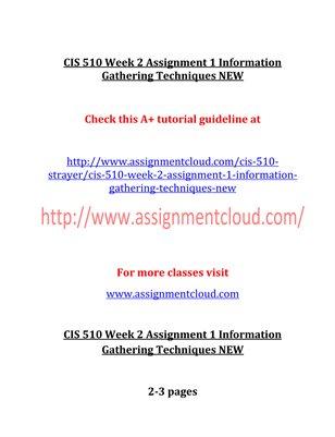 CIS 510 Entire Course NEW