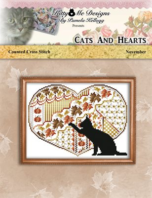 Cats And Hearts November Cross Stitch Pattern