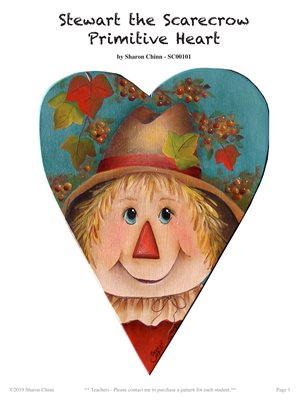 Stewart the Scarecrow Primitive Heart Painting Pattern by Sharon Chinn SC00101