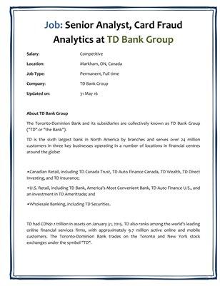 Job: Senior Analyst, Card Fraud Analytics at TD Bank Group