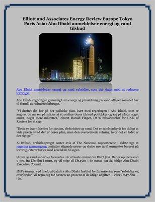 Elliott and Associates Energy Review Europe Tokyo Paris Asia: Abu Dhabi anmeldelser energi og vand tilskud