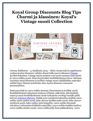 Koyal Group Discounts Blog Tips Charmi ja klassinen: Koyal's Vintage suosii Collection