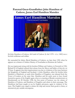 Paternal Great-Grandfather: John Hamilton of Cadzow, James Earl Hamilton Marsden
