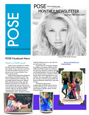 POSE child modeling mag November Newsletter