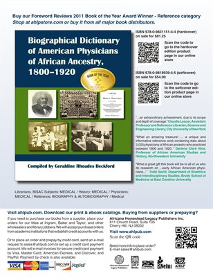 Biographical Dictionary of American Physicians of African Ancestry, 1800-1920 sales flyer Sep 2012