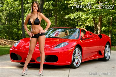 P0044 Kristie Franklin Bikini Ferrari F430 Poster by Fast & Sexy