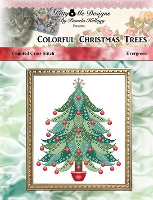 Colorful Christmas Trees Evergreen Cross Stitch Pattern