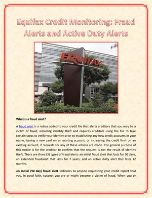 Equifax Credit Monitoring: Fraud Alerts and Active Duty Alerts