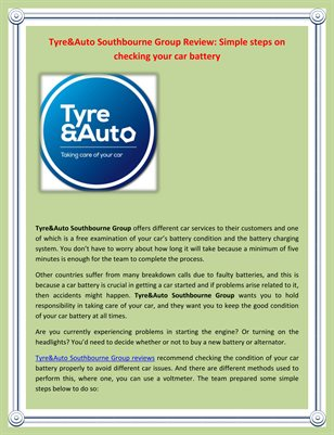 Tyre&Auto Southbourne Group Review: Simple steps on checking your car battery