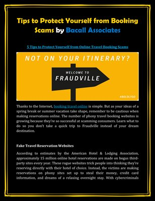 Tips to Protect Yourself from Booking Scams by Bacall Associates