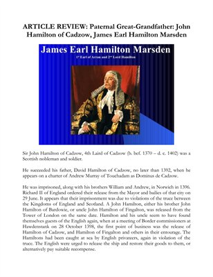 ARTICLE REVIEW: Paternal Great-Grandfather: John Hamilton of Cadzow, James Earl Hamilton Marsden