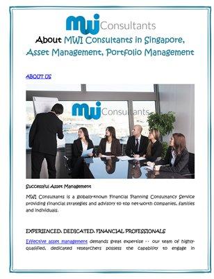 About MWI Consultants in Singapore, Asset Management, Portfolio Management