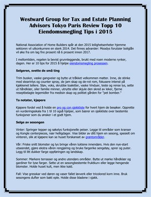 Westward Group for Tax and Estate Planning Advisors Tokyo Paris Review Topp 10 Eiendomsmegling Tips i 2015