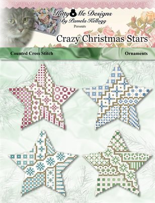 Crazy Christmas Star Ornaments Counted Cross Stitch Pattern