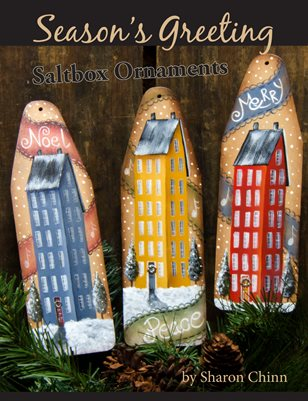 Season's Greetings Saltbox Ornaments Painting Pattern - Sharon Chinn SC14909