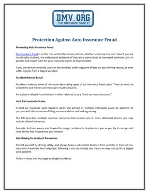 Protection Against Auto Insurance Fraud