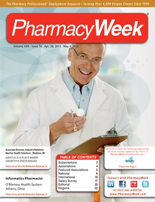 Pharmacy Week, Volume XXII, Issue 16, April 28-May 4, 2013