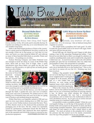 Idaho Brew Magazine, October 2014