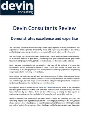 Devin Consulting Review: Demonstrates excellence and expertise