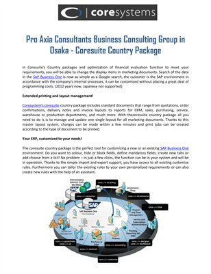 Pro Axia Consultants Business Consulting Group in Osaka - Coresuite Country Package