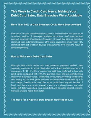 This Week In Credit Card News Making Your Debit Card Safer Data Breaches Were Avoidable