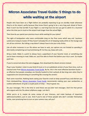Micron Associates Travel Guide: 5 things to do while waiting at the airport