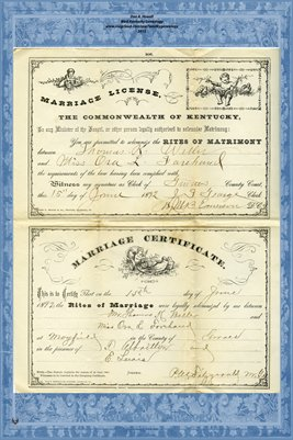 1892 Marriage License and Certificate for Thomas K. Weller(?) and Miss Ora L. Forehand(?) , Graves County, Kentucky