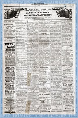 (PAGES 3-4) APRIL 19, 1879 MAYFIELD MONITOR NEWSPAPER, MAYFIELD, GRAVES COUNTY, KENTUCKY
