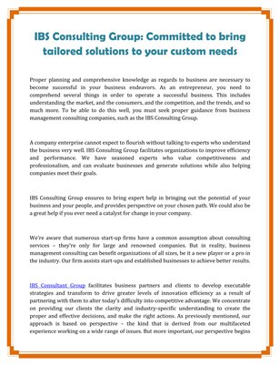 IBS Consulting Group: Committed to bring tailored solutions to your custom needs