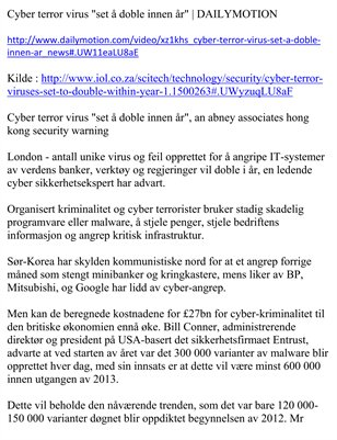 "Cyber terror virus ""set å doble innen år"" 