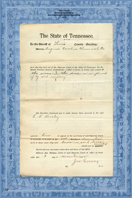 No.791 1902 In the Supreme Court, Lewis County, Tennessee, Virginia Carolina Chemical Co. vs. E.H. Hensley