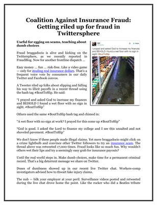 Coalition Against Insurance Fraud: Getting riled up for fraud in Twittersphere