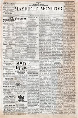 (PAGES 1-2)  JUNE 11, 1881 MAYFIELD MONITOR NEWSPAPER, MAYFIELD, GRAVES COUNTY, KENTUCKY
