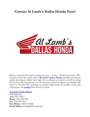 Contact Al Lamb's Dallas Honda Now!