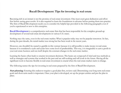 Bacall Development: Tips for investing in real estate