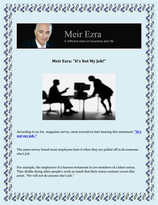 "Meir Ezra: ""It's Not My Job!"""