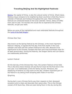 Traveling Beijing And Its Highlighted Festivals