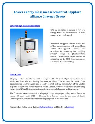 Lower energy mass measurement at Sapphire Alliance Cheyney Group