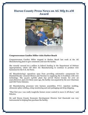Huron County Press News on AG Mfg $1.2M Award