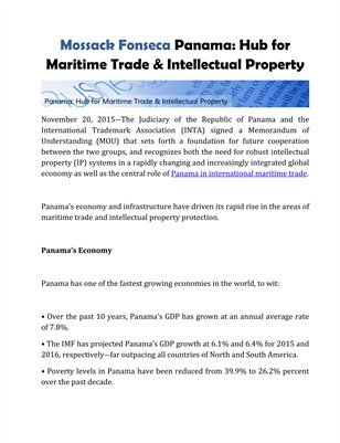 Mossack Fonseca Panama: Hub for Maritime Trade & Intellectual Property