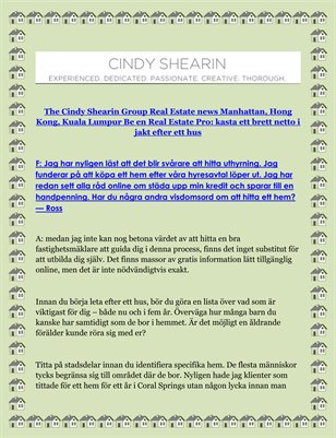 The Cindy Shearin Group Real Estate news Manhattan, Hong Kong, Kuala Lumpur