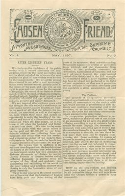 MAY 1897, THE CHOSEN FRIEND, A MONTHLY MESSENGER FROM THE SUPREME COUNCIL