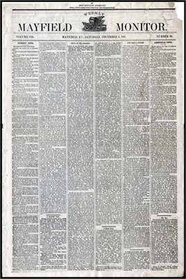 (PAGES 1-2) DECEMBER 03, 1881 MAYFIELD MONITOR NEWSPAPER, MAYFIELD, GRAVES COUNTY, KENTUCKY