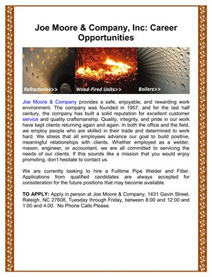 Joe Moore & Company, Inc.: Career Opportunities