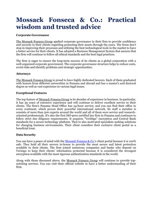 Mossack Fonseca & Co.: Practical wisdom and trusted advice